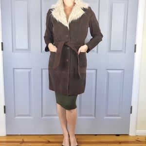 Brushed LEATHER COAT FAUX FUR JACKET long trench M
